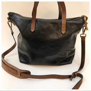 Madewell J Crew Black Brown Leather Transport Bag